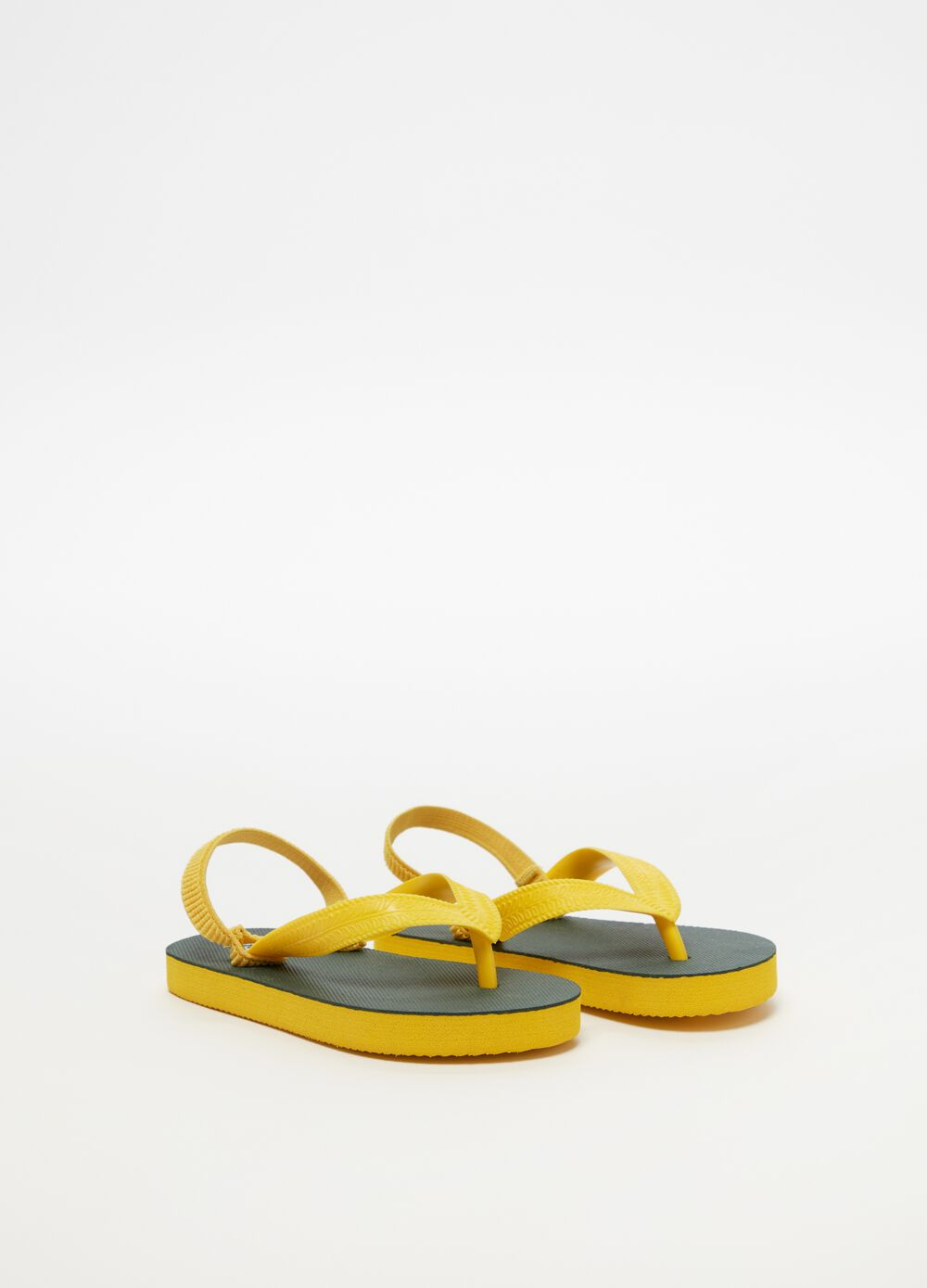 Two-tone thong sandals with elasticated laces
