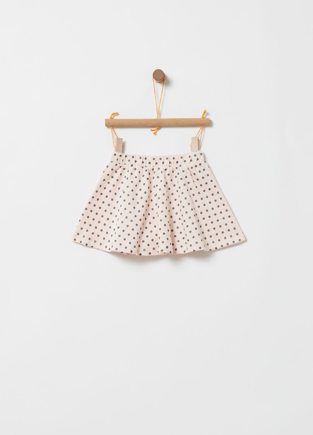 Polka dot skirt in 100% cotton lightweight fleece