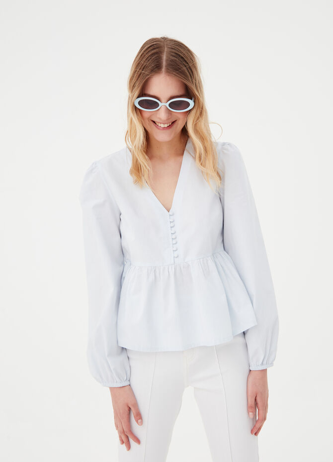 Shirt in poplin with buttons