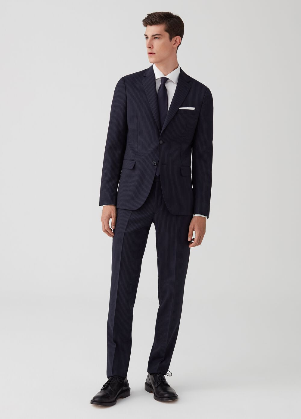 Regular-fit pinstriped suit in 100% wool