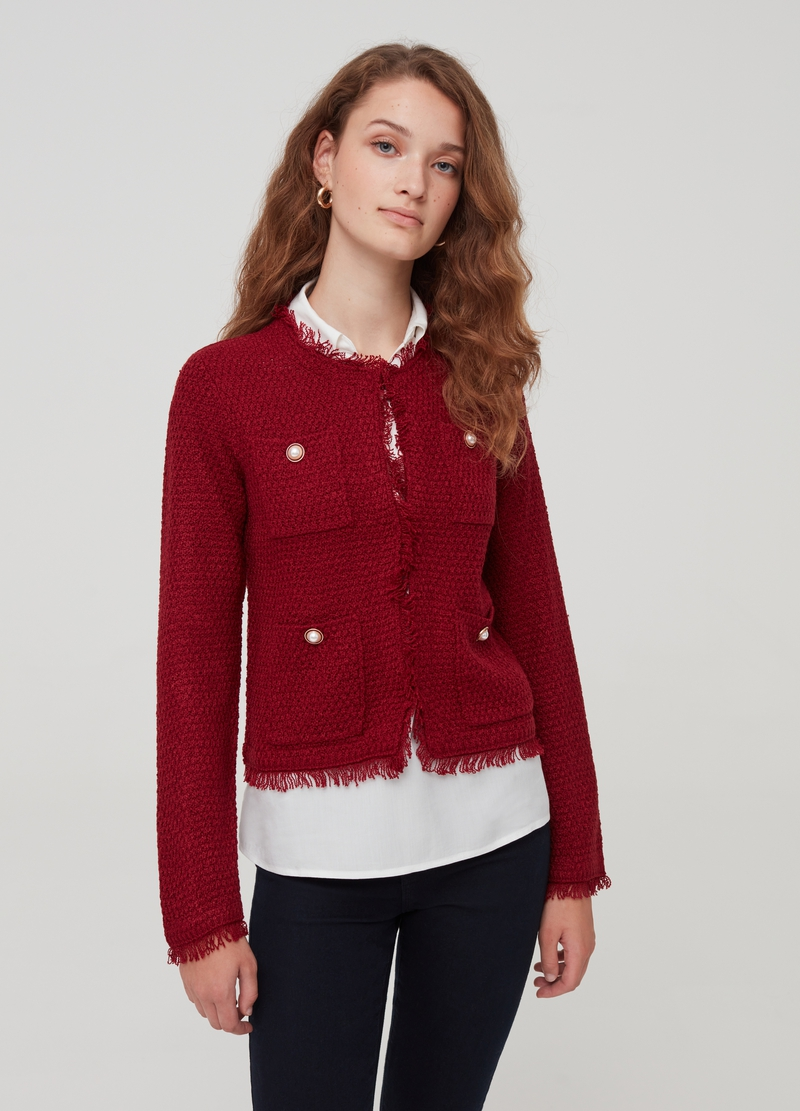 Cardigan jacket with jewelled buttons image number null