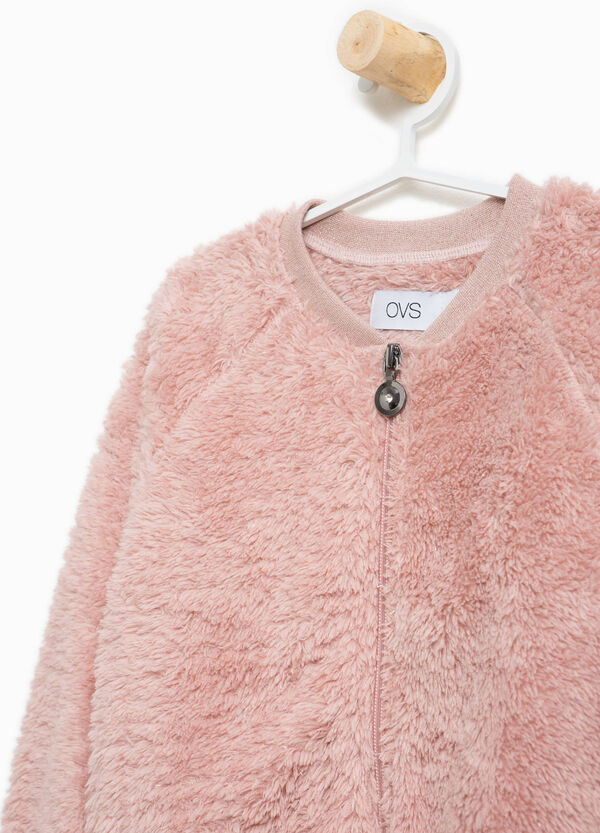 Faux fur ribbed glitter sweatshirt | OVS