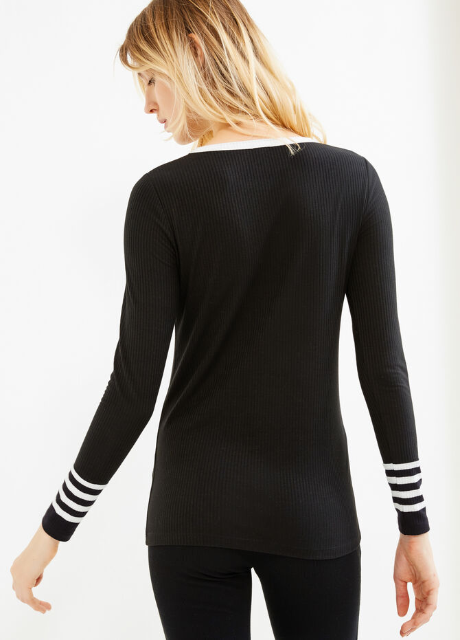 Stretch ribbed T-shirt