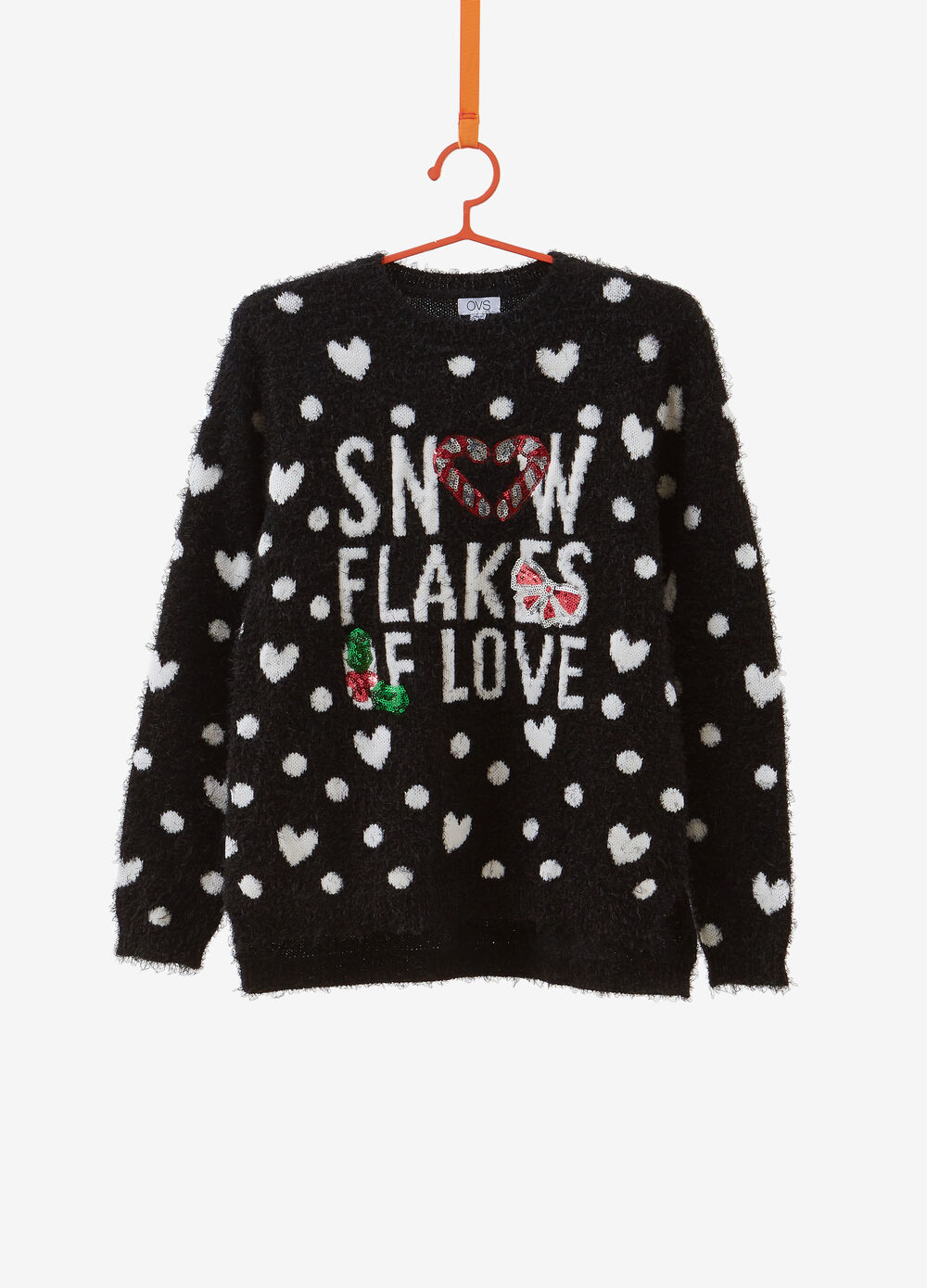 Christmas sweater with lettering embroidery