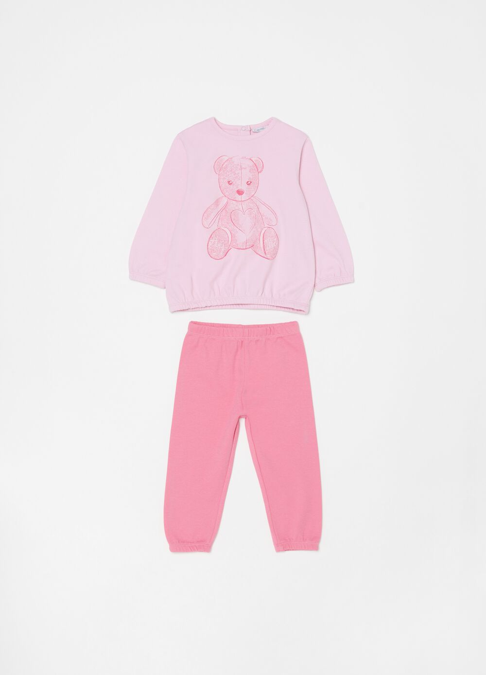 Pyjamas in 100% organic cotton with bear print