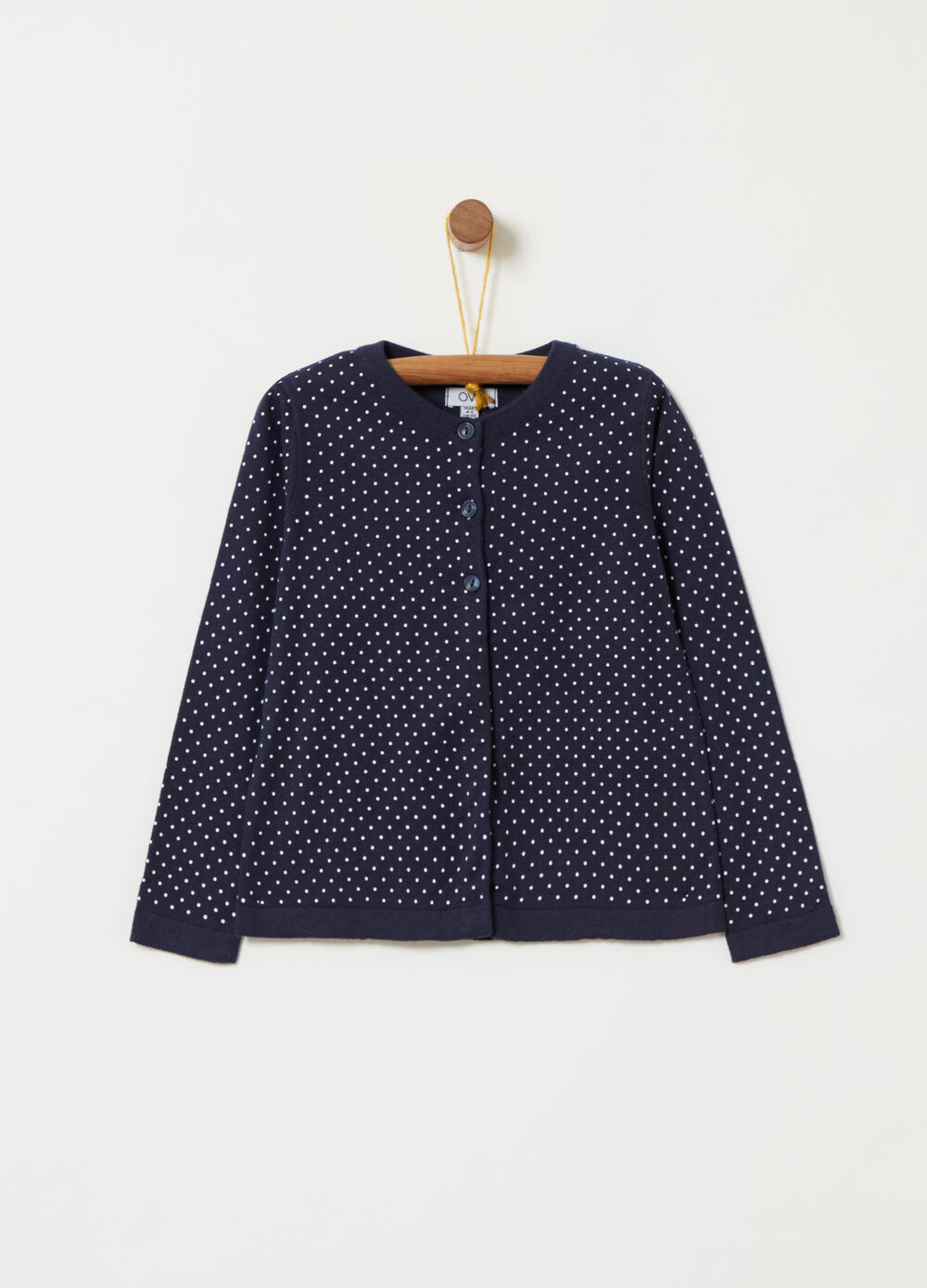 Cotton cardigan with micro polka dot pattern