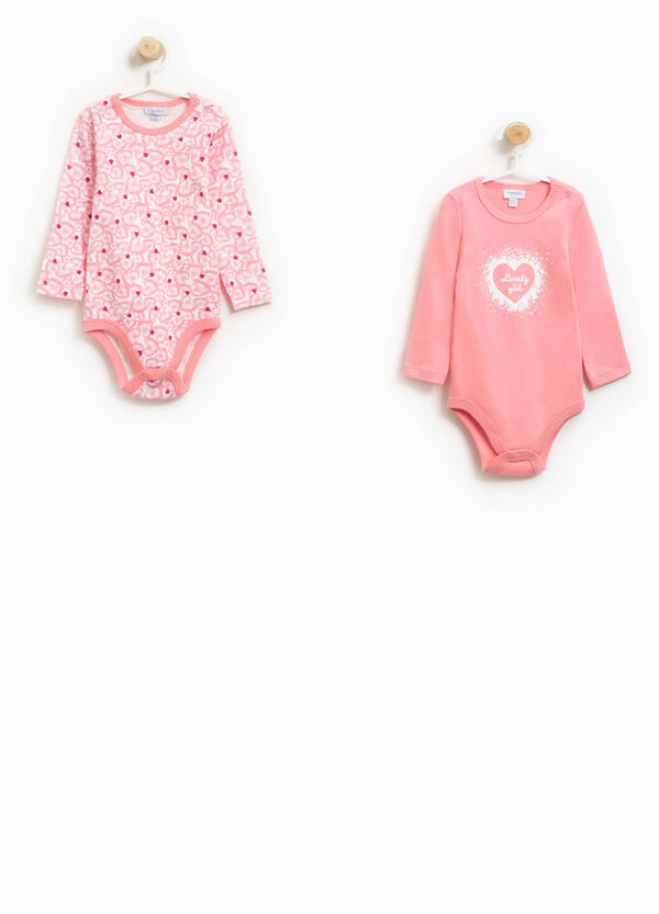 Two-pack 100% cotton printed and heart bodysuits | OVS