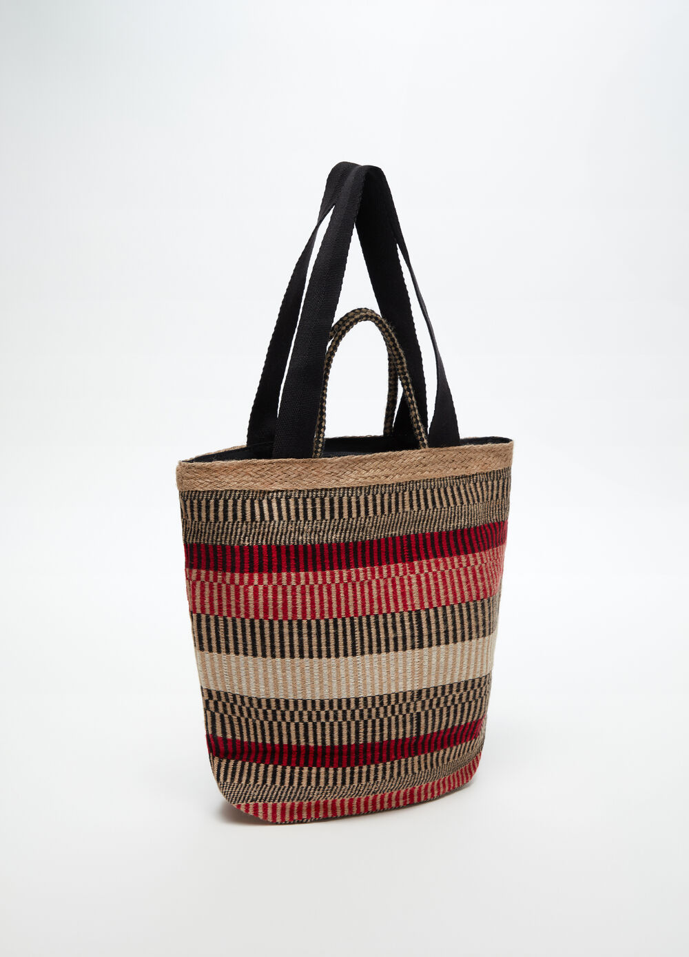 Beach bag with striped jute