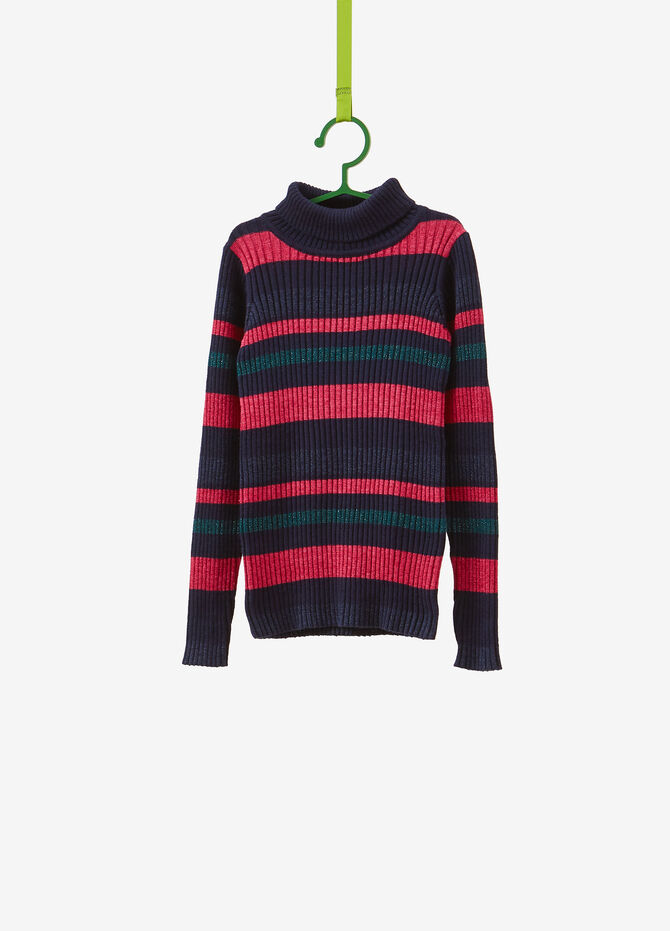 Knitted pullover with lurex and striped pattern