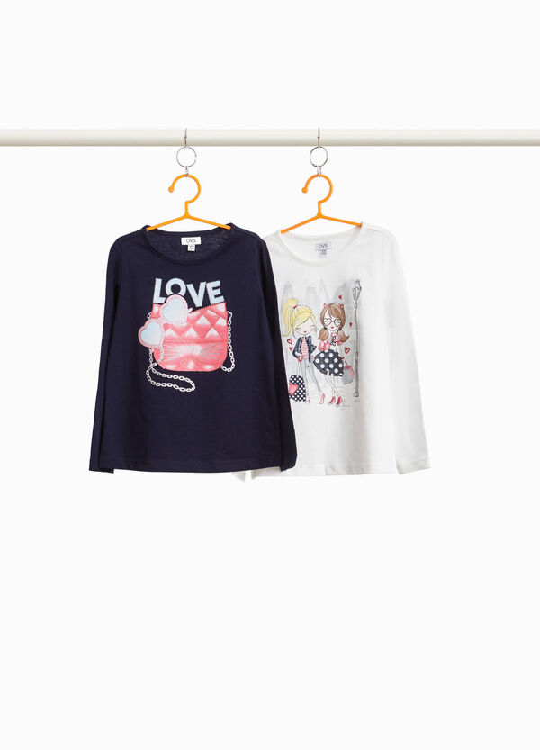 Two-pack 100% cotton printed T-shirts