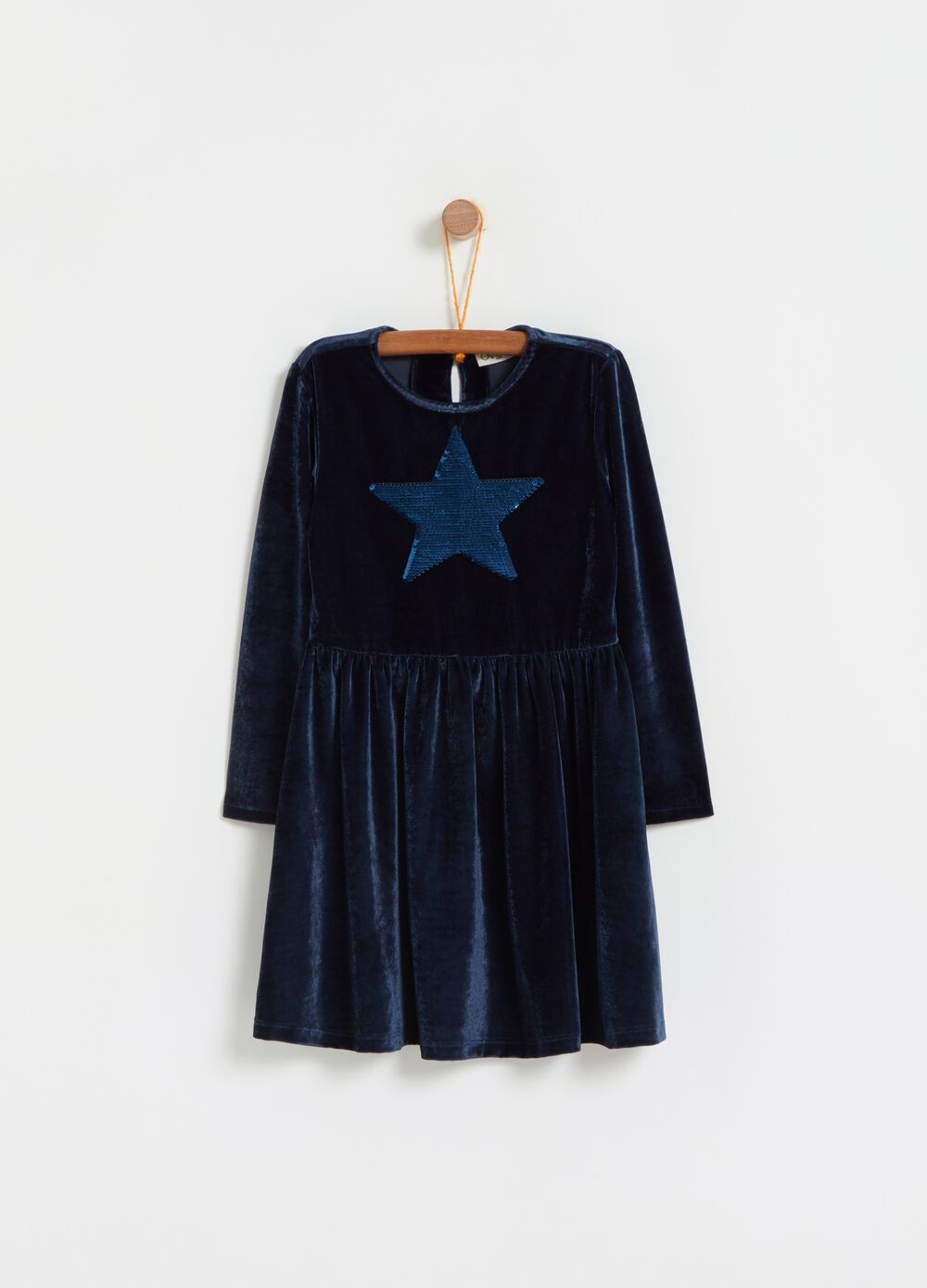 Chenille-effect dress with star embroidery