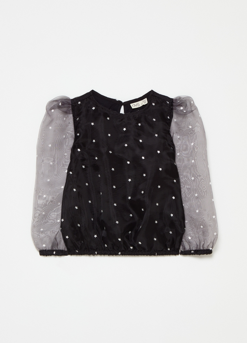 T-shirt with puff sleeves and small stars pattern image number null