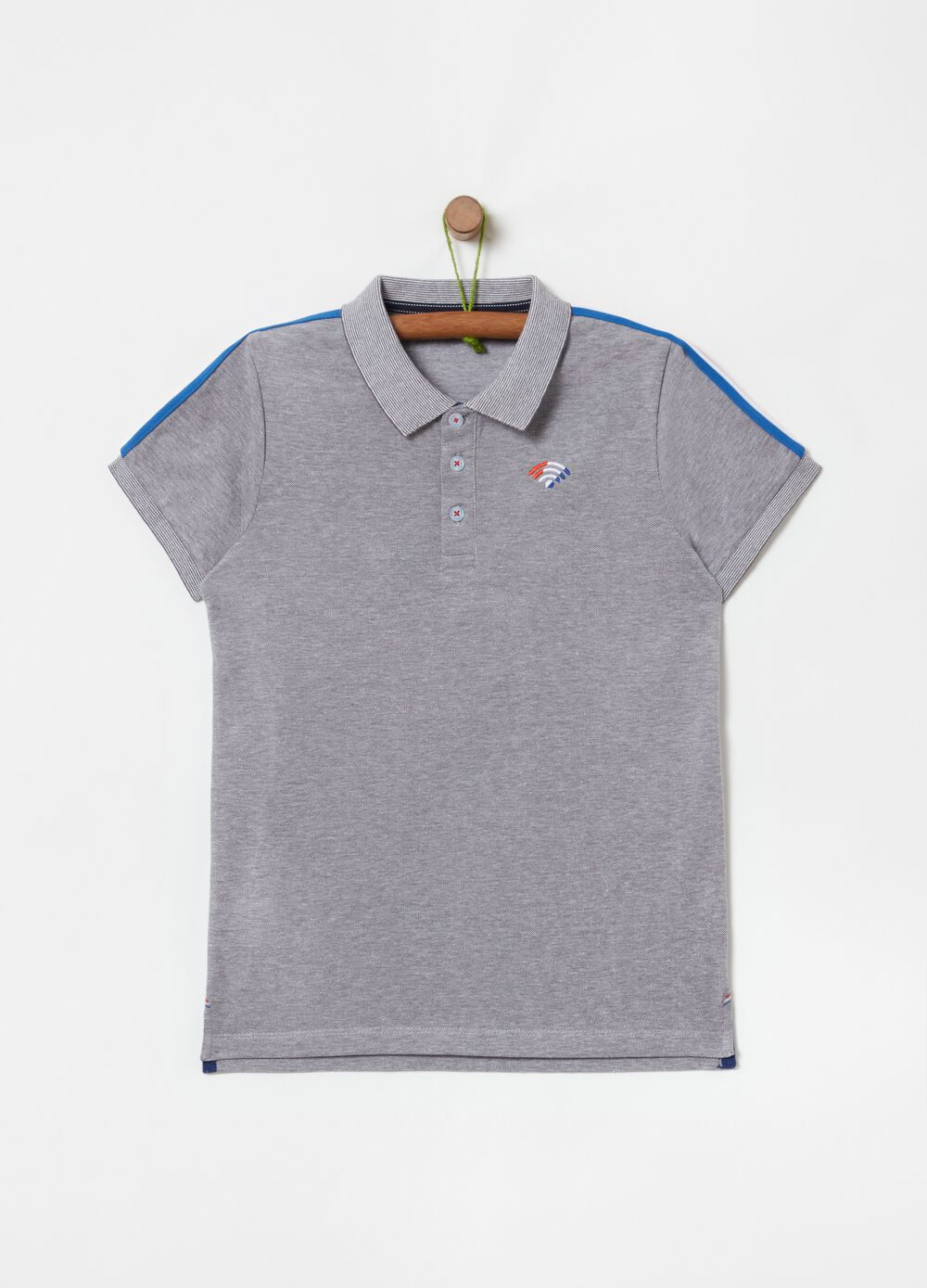100% cotton polo shirt with lettering embroidery