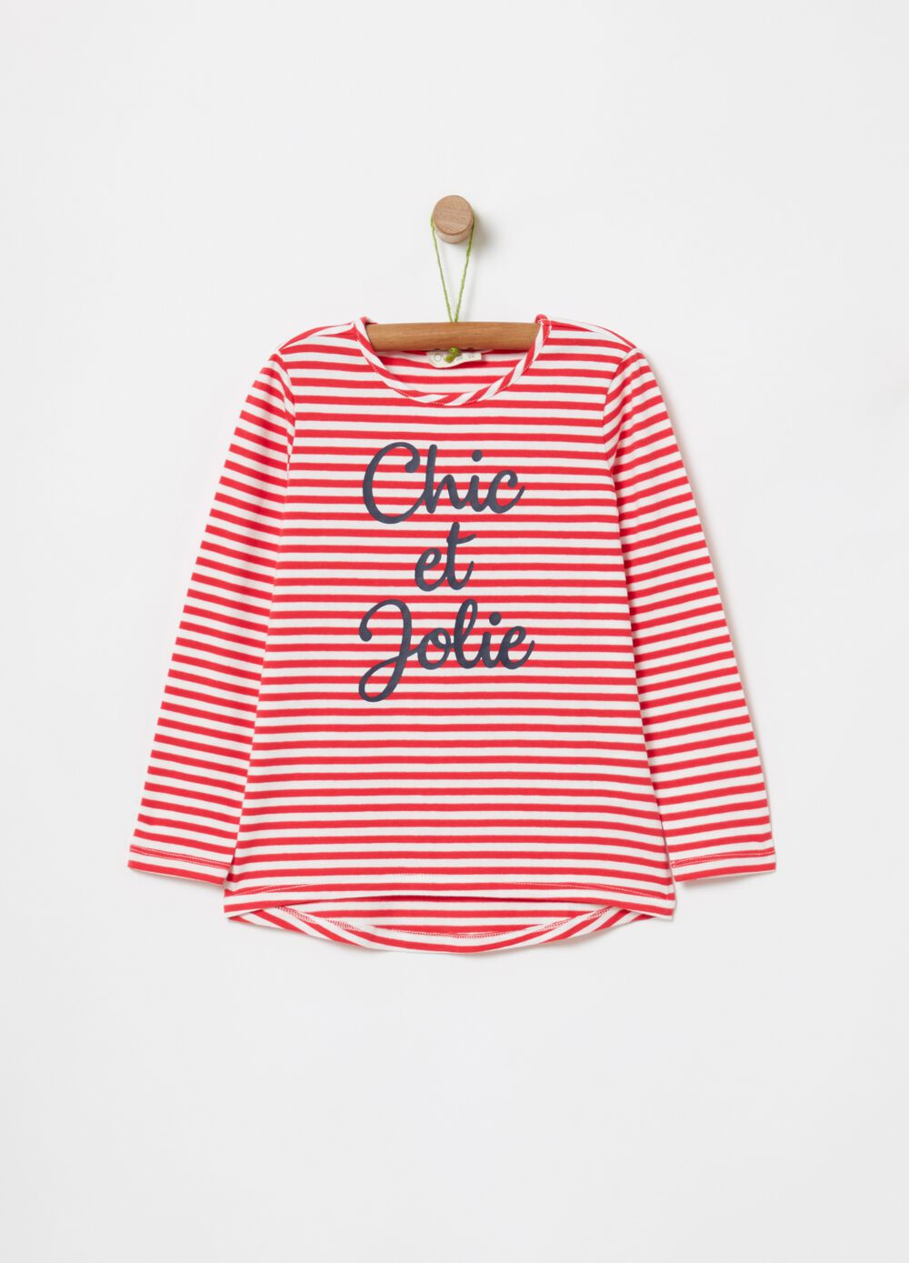 T-shirt with print and stripes