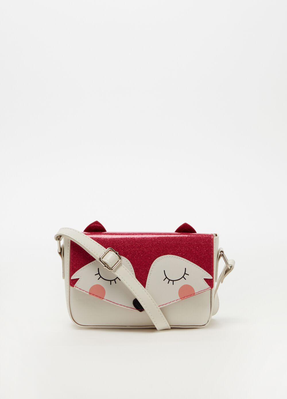 Shoulder bag with glitter and fox pattern