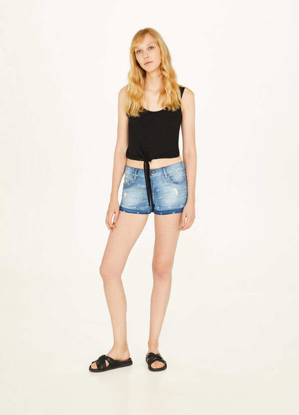 Stretch denim shorts with star pattern
