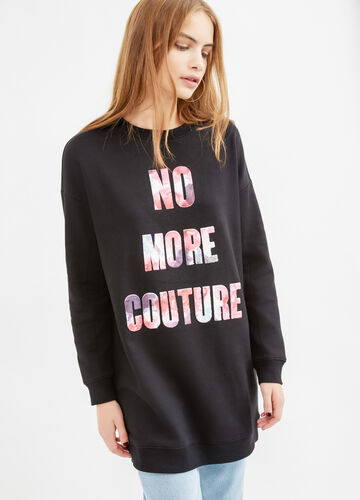 Long cotton sweatshirt with printed lettering