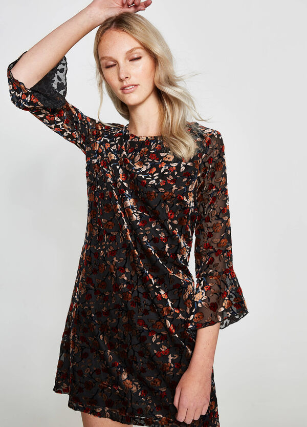 Floral patterned dress with flounces | OVS