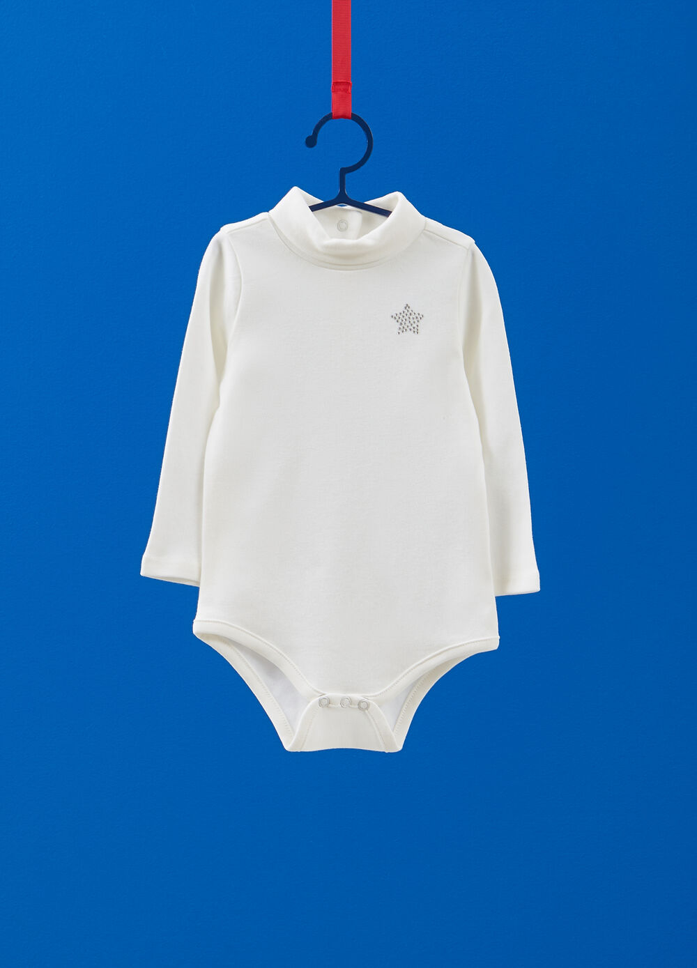 Turtleneck bodysuit in 100% cotton with star diamantés