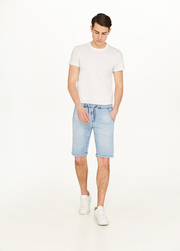 Slim-fit mis-dyed denim Bermuda shorts