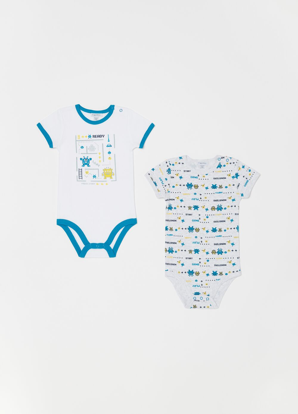 Two-pack patterned biocotton bodysuits