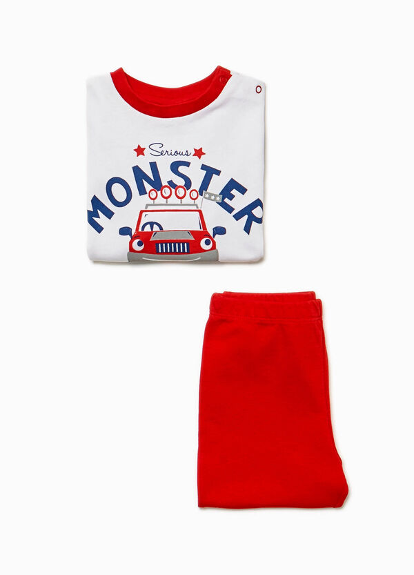 Cotton pyjamas with monster truck print
