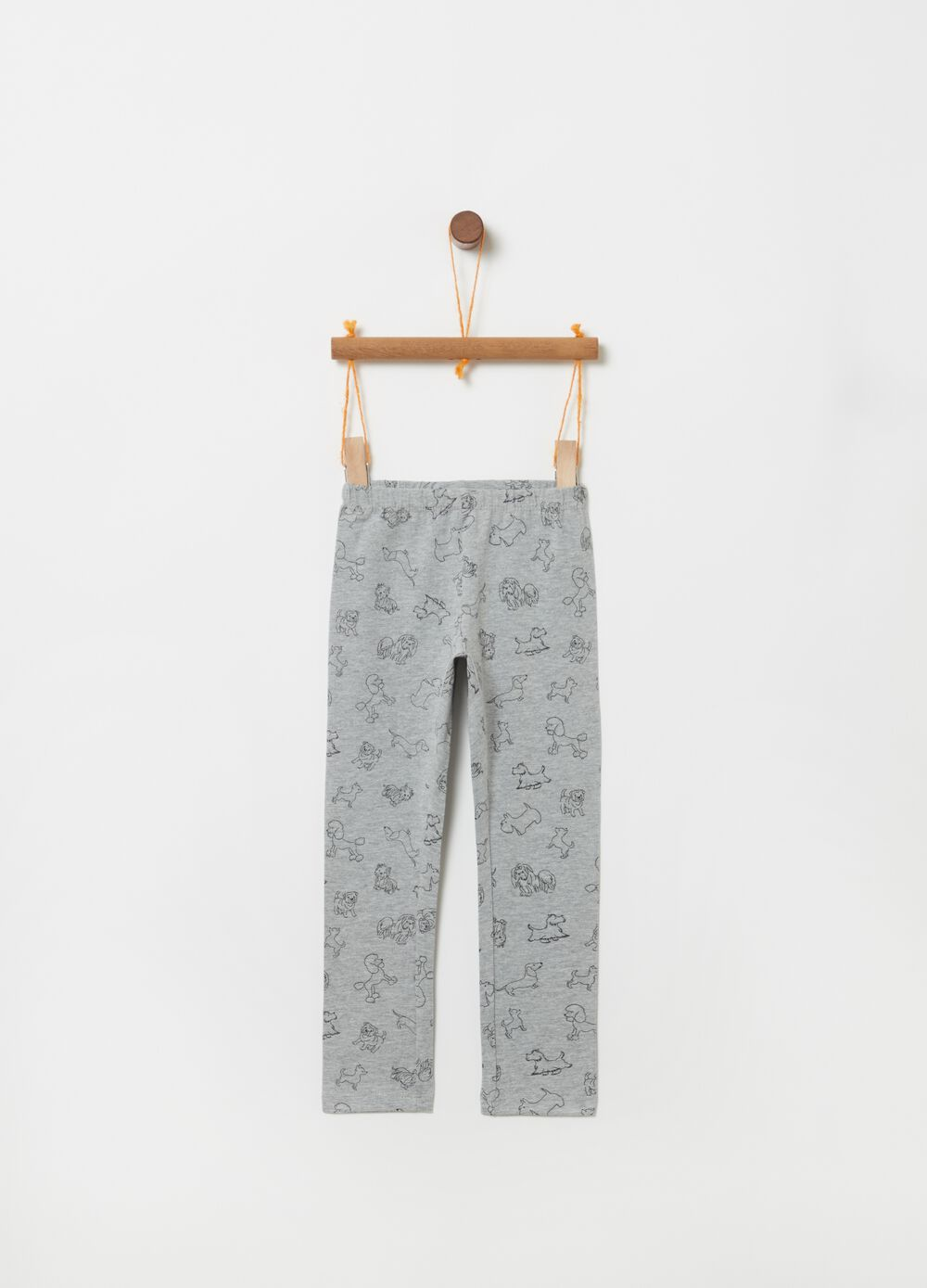 Stretch organic cotton leggings with dogs print