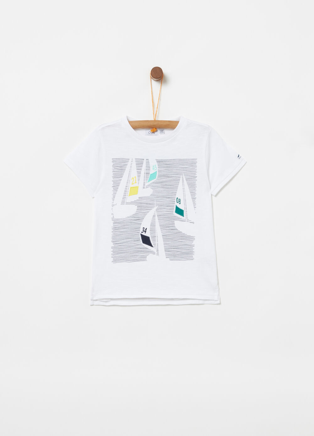 Organic cotton T-shirt with print and embroidery