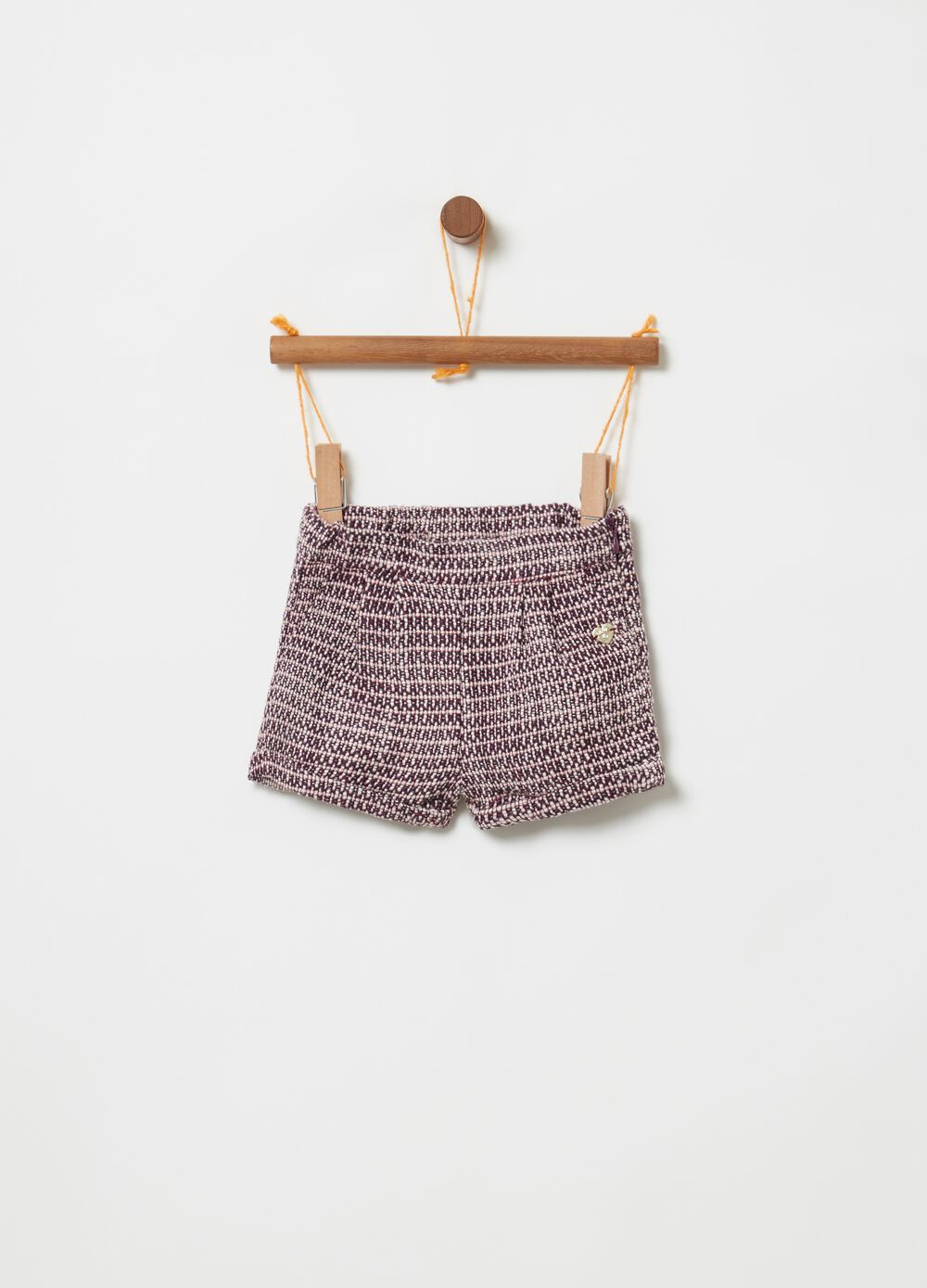 Shorts with geometric weave and pockets