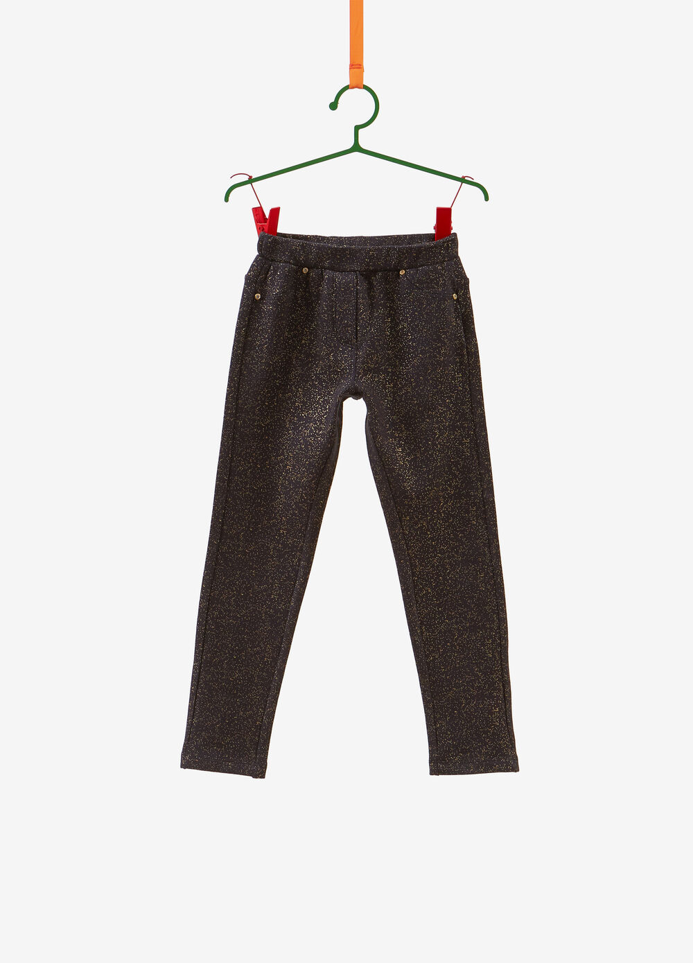 Stretch lurex-effect cotton trousers with glitter