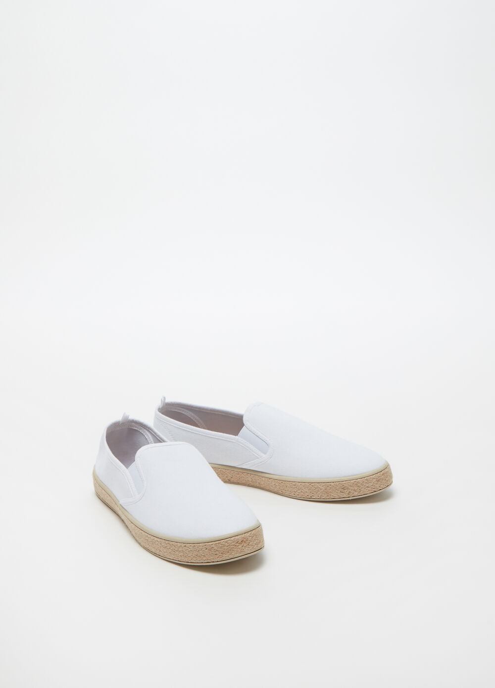Solid colour slip-ons with cord sole