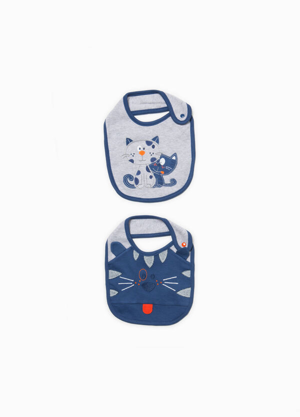 Two-pack cotton bibs with patch | OVS
