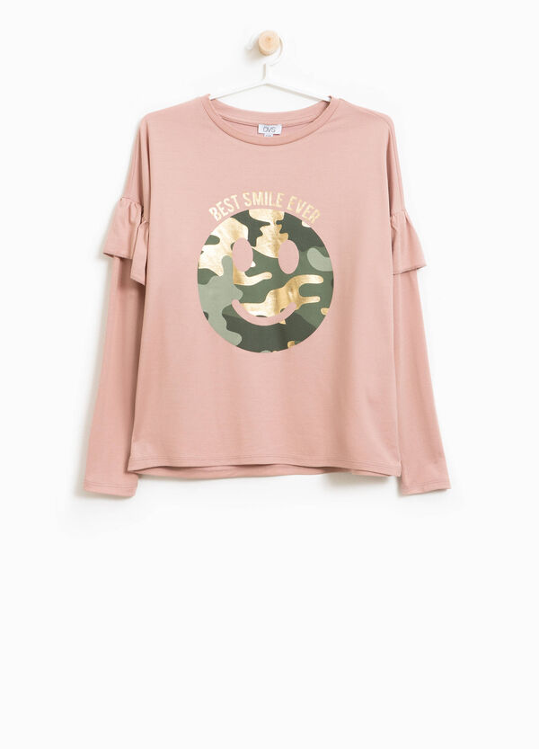 Modal blend T-shirt with flounce and print