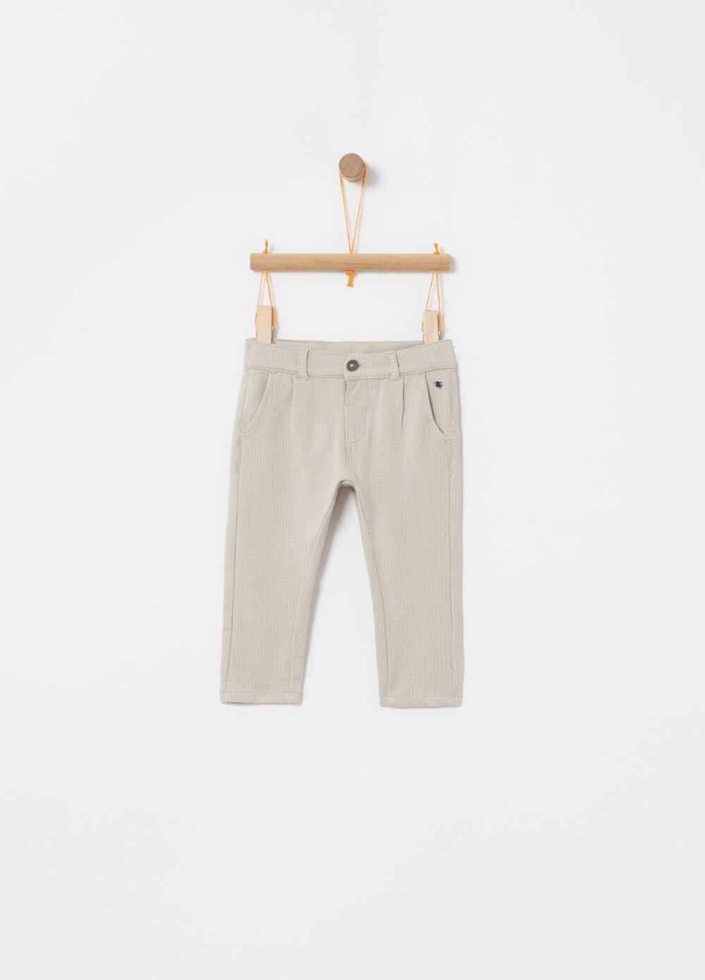 Check trousers in stretch cotton