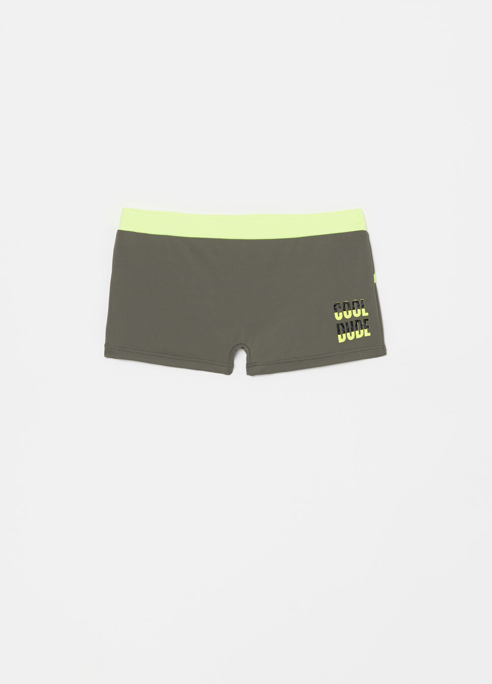 Two-tone stretch swimming trunks with print