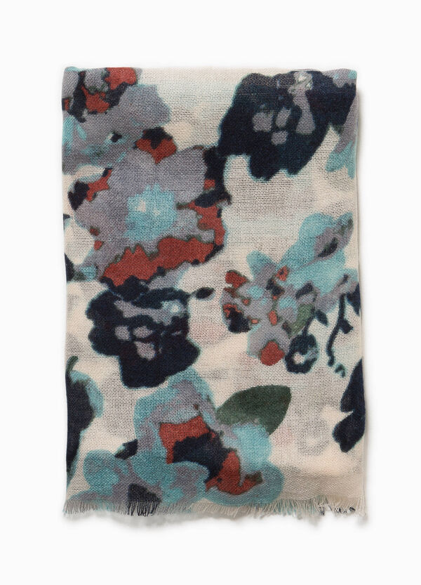 Floral pashmina with fringed edges. | OVS