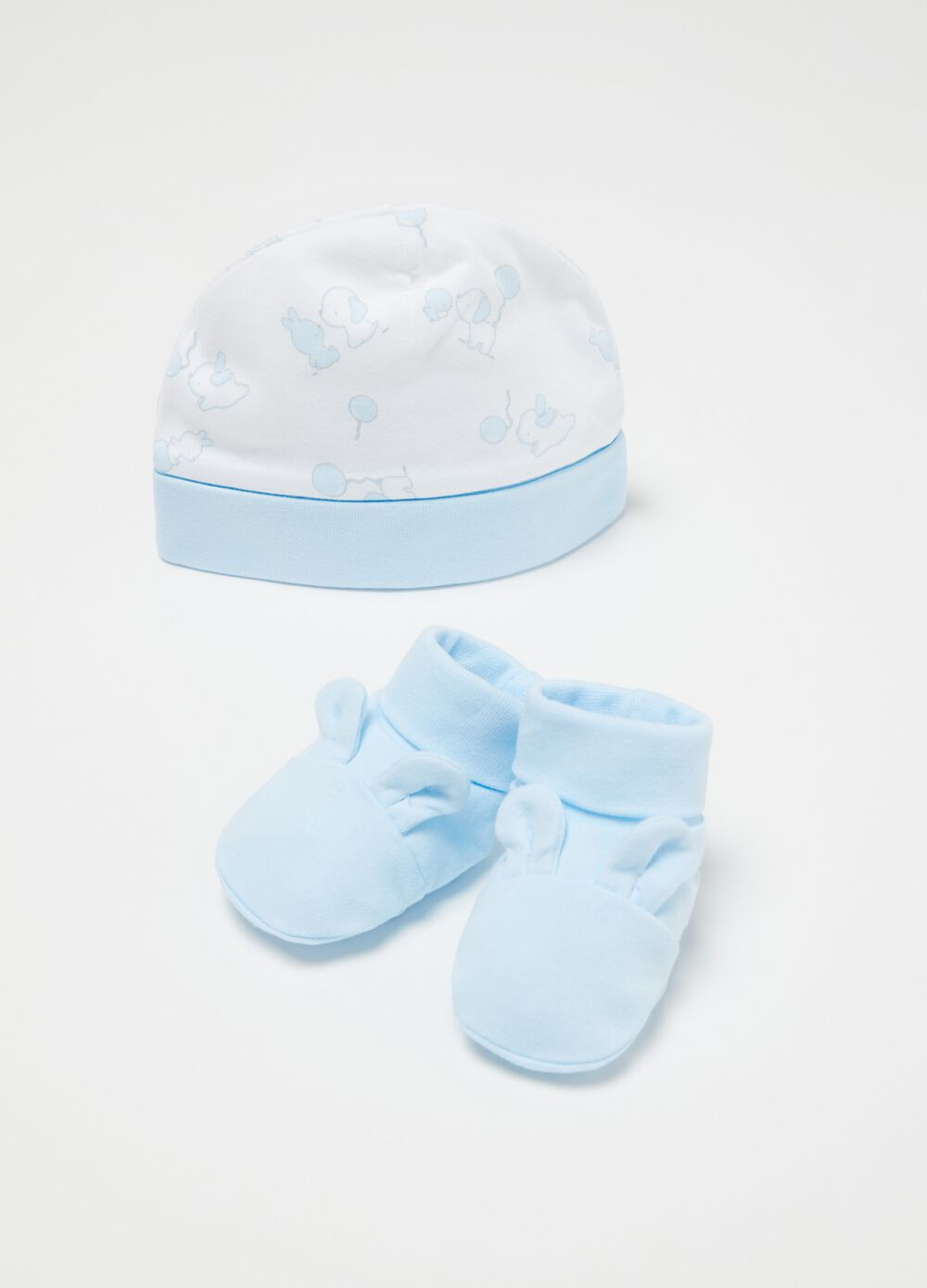 Patterned hat and shoes set
