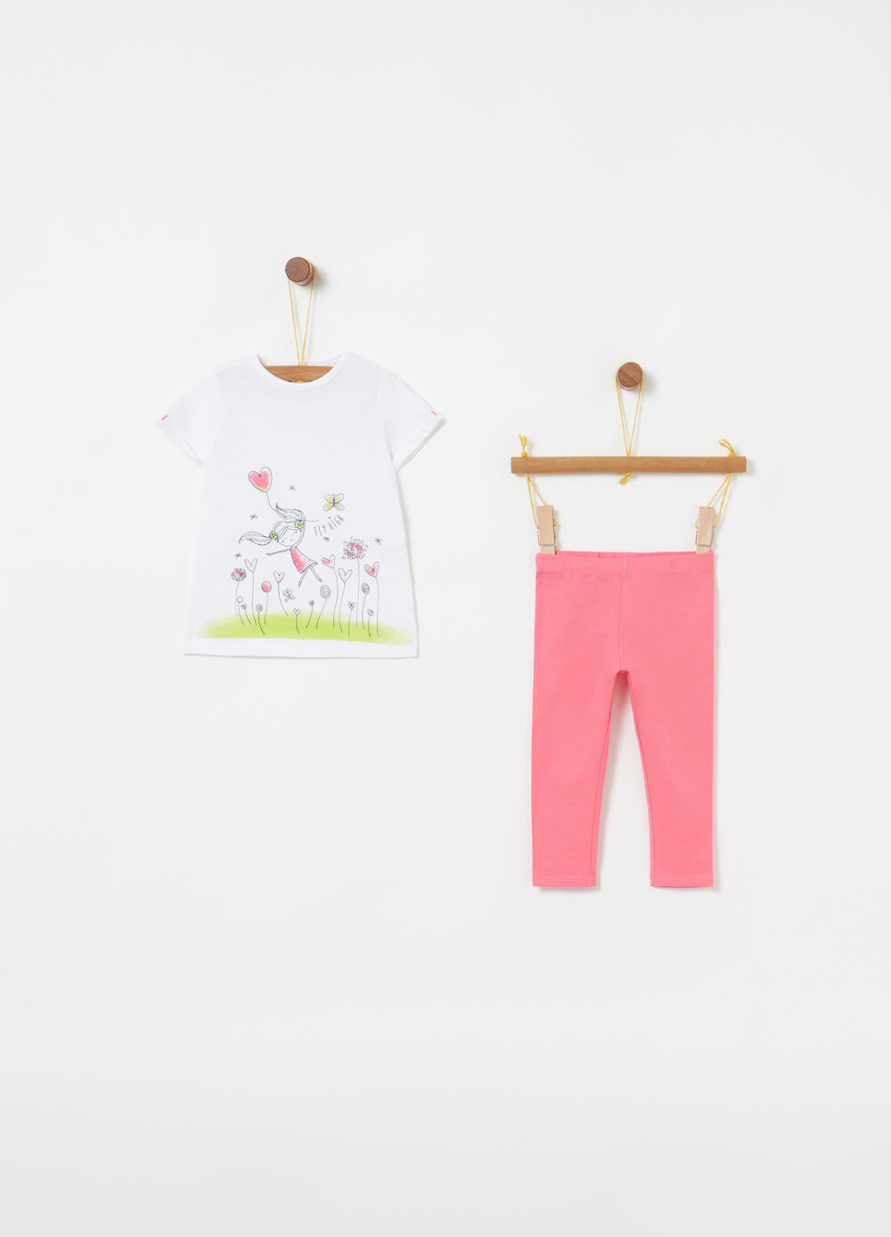 Biocotton T-shirt and leggings jogging set