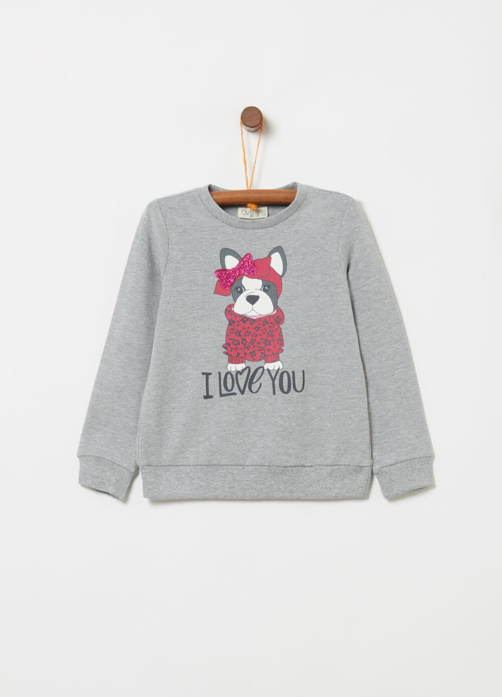 Stretch mélange sweatshirt with dog print