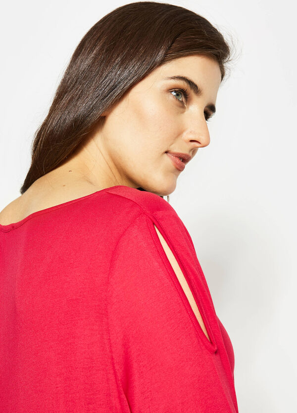 Curvy T-shirt with openings on the shoulders   OVS