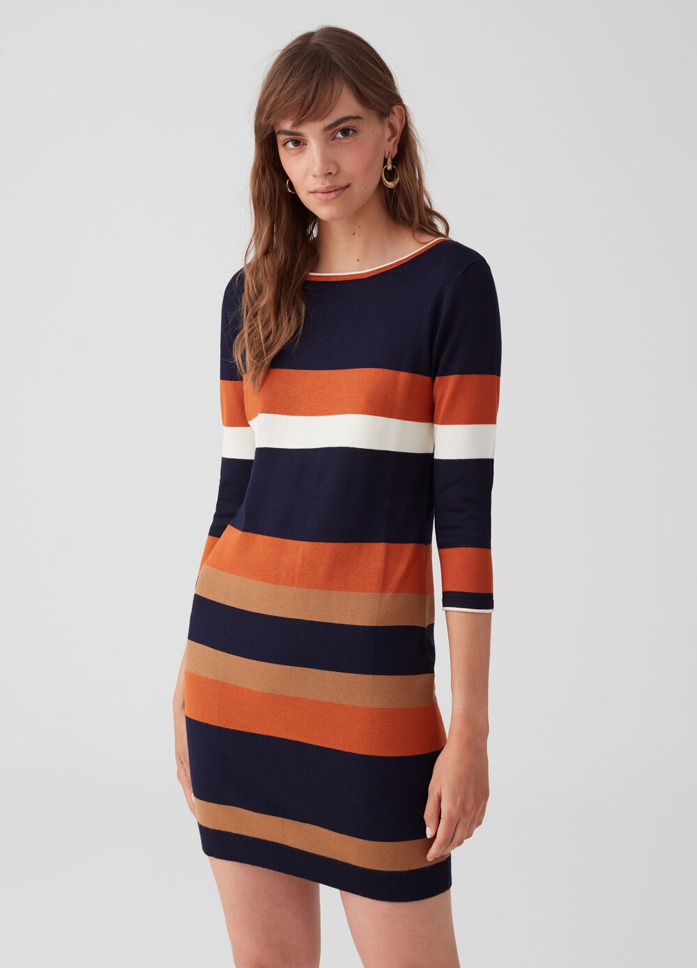 Tube dress with striped pattern