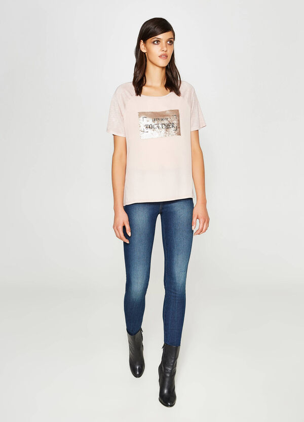 T-shirt in pura viscosa con paillettes | OVS
