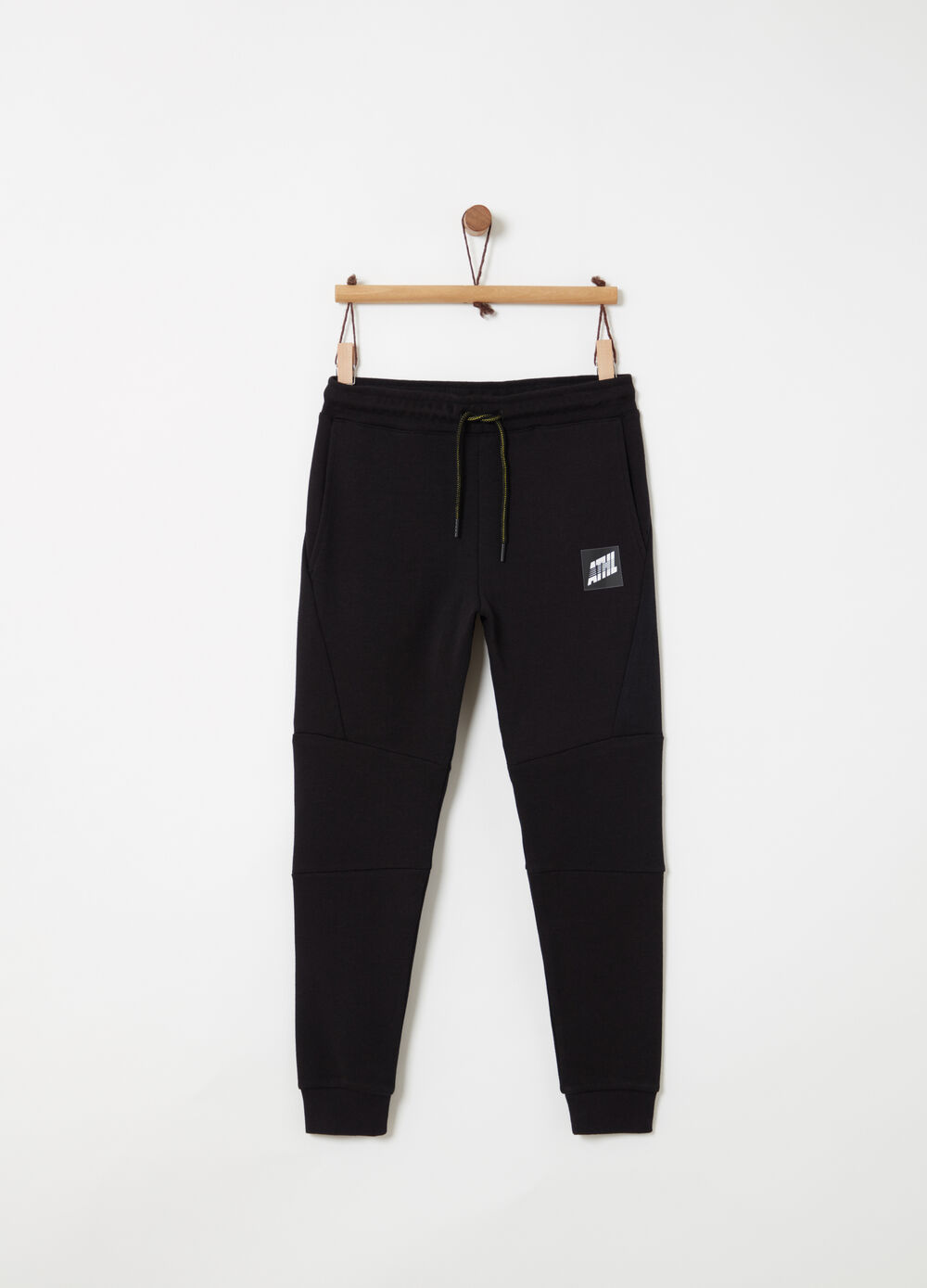 Interlock trousers with rubber print