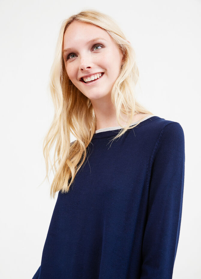 Pullover with contrasting faux layer