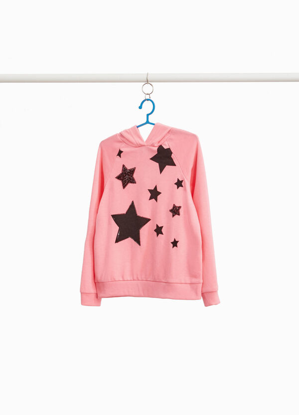 Maxi sweatshirt with stars print and sequins