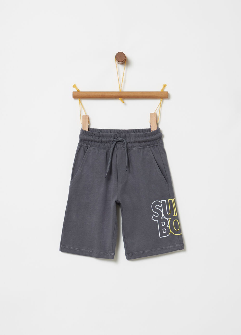 Jersey shorts with print and drawstring
