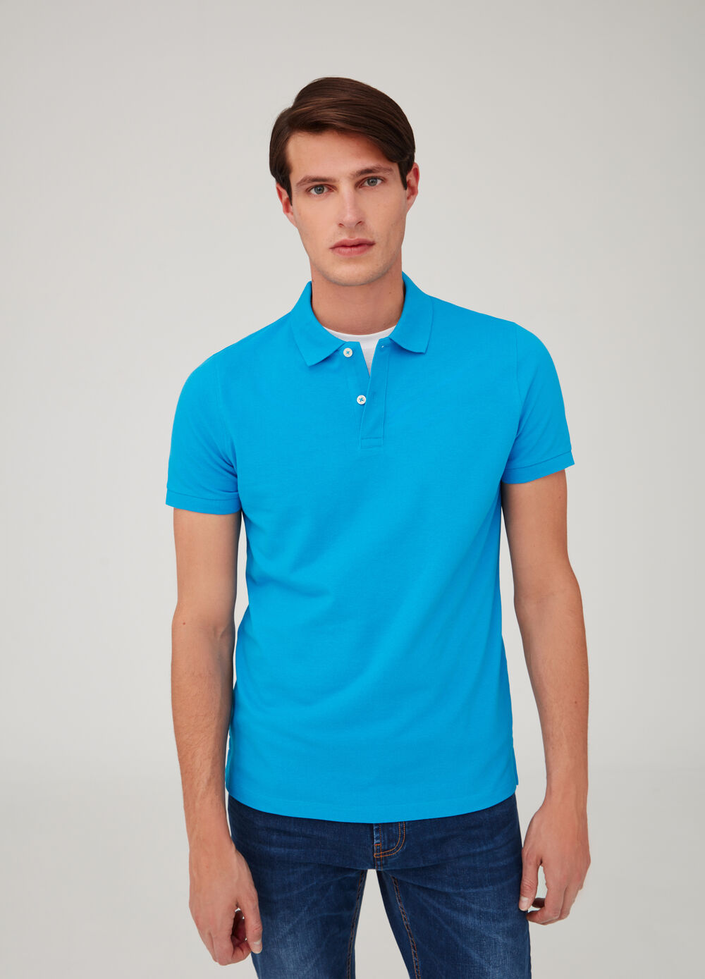 Soft cotton polo shirt with two buttons