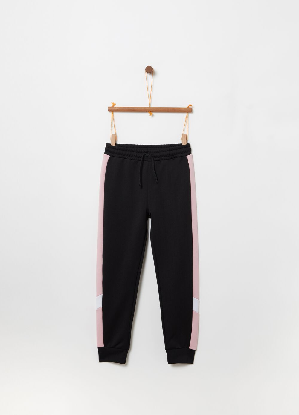 Jogger trousers with drawstring and print