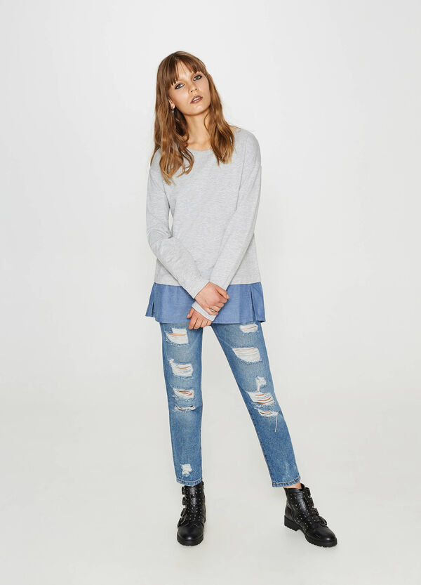 100% cotton sweatshirt with faux layer | OVS