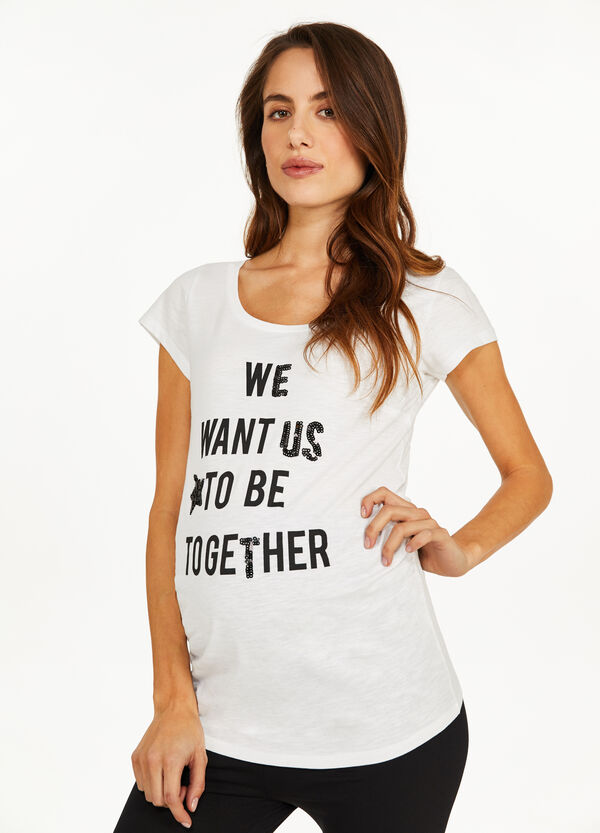MUM T-shirt with lettering print and sequins